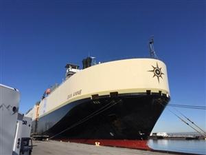 輸出品を運ぶ貨物船